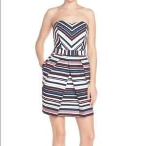 Adelyn Rae striped strapless mini dress